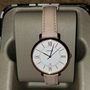 Fossil Jacqueline date blush leather watch ES3988P